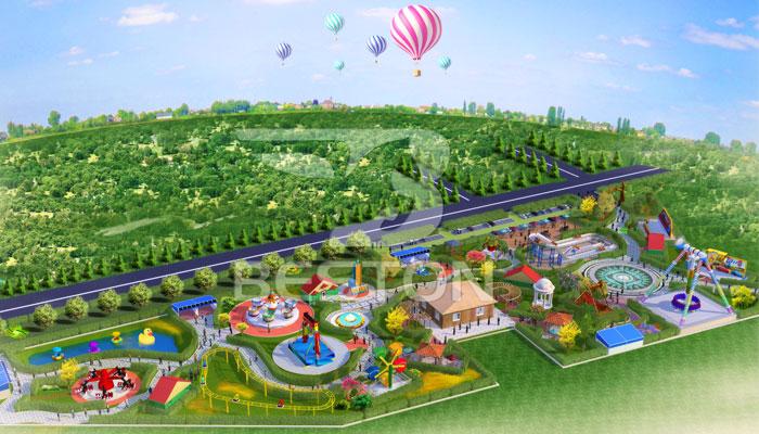 Парк аттракционов в пригороде