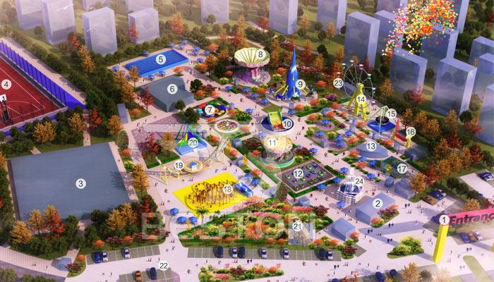 Парк аттркционов на городской площади