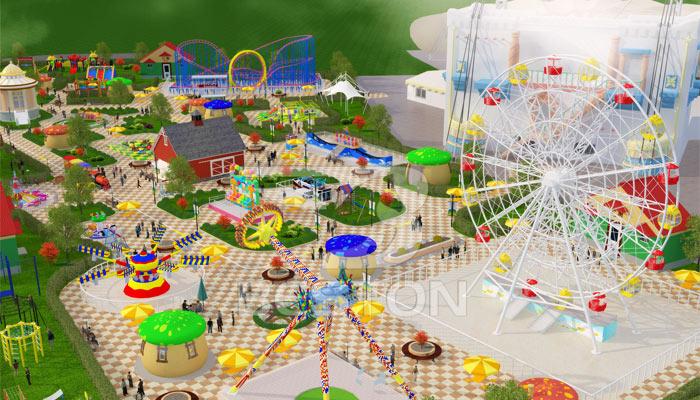 Парк развлечений на городской площади